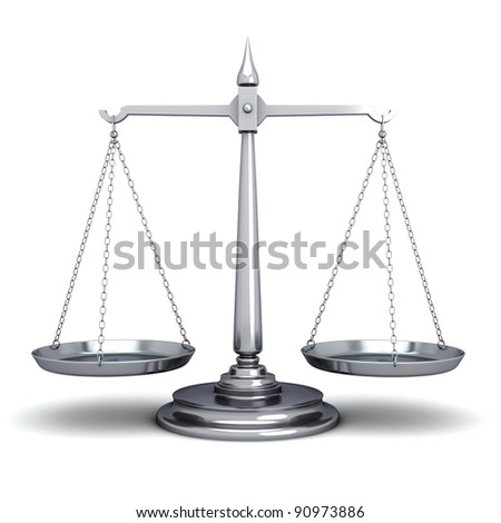 Scales of Justice on white - stock photo