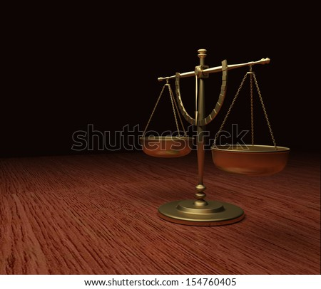 Scales of Justice on wood table V4
