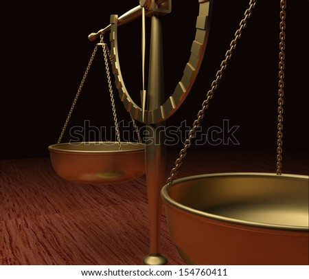 Scales of Justice on wood table V3 - stock photo