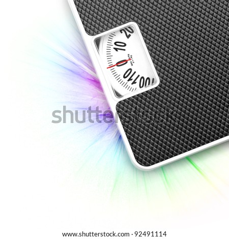 Scales on white background (with sample text) - stock photo