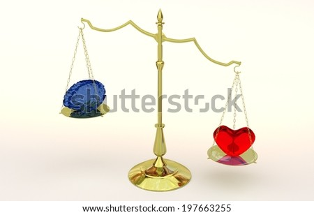 Scales with brain and heart - 3D model - stock photo