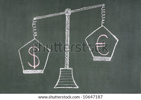 Scales with  dollar and euro symbols - stock photo
