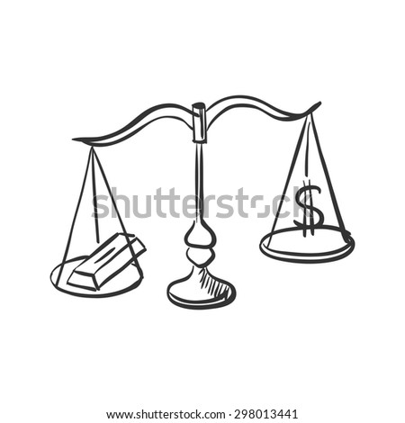 Scales with gold and dollar sign doodle, hand drawing style - stock photo