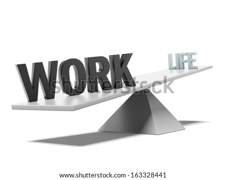 scales with life and work words - stock photo