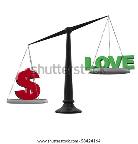 scales with love and dollar sign