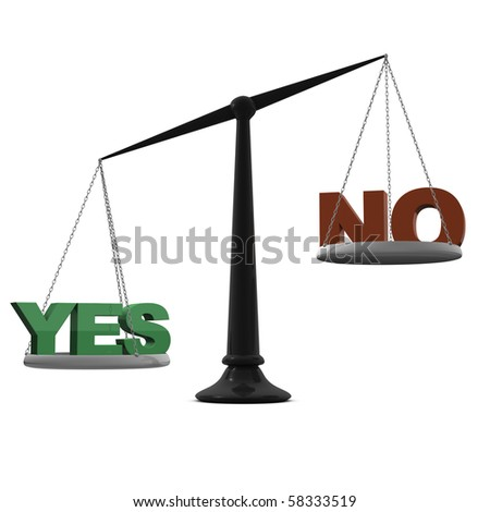 scales with yes and no words - stock photo