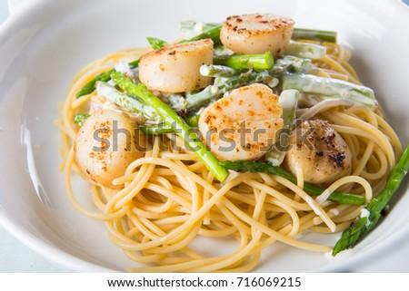 Scallop Asparagus Cream Pasta