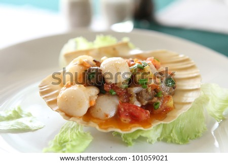 Scallop with butter seafood appetizer - stock photo