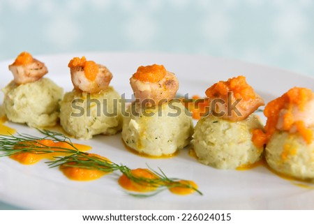 Scallop with Mash Potato - stock photo