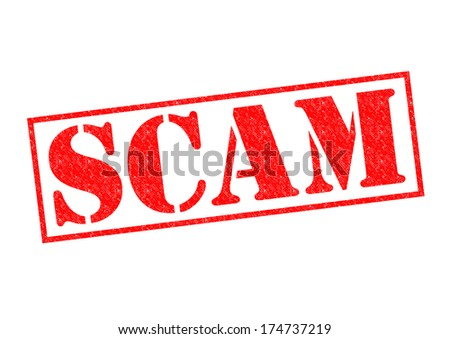 SCAM red Rubber Stamp over a white background.