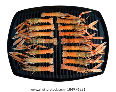Scampi on a grill plate - stock photo
