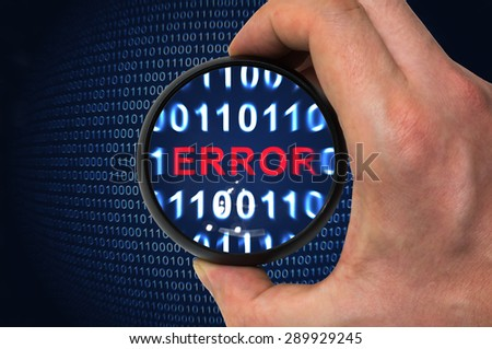 Scan for bugs and debugging binary code with error written inside magnifying glass - stock photo