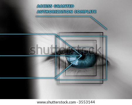 scan of eye with authorization text - blue - stock photo
