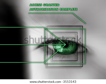 scan of eye with authorization text - green - stock photo