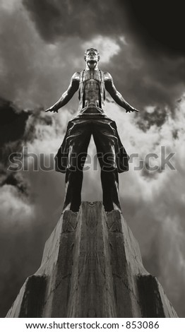 Scan of medium format's original black&white negative shot in Moscow in July 2002. Historical stalin's style statue transformed in Photoshop - stock photo