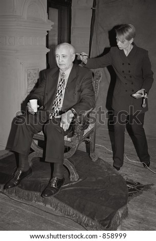 Scan of medium format's original black&white negative shot in Moscow in March 2001 at documentary location. Photo of soviet ex-president Mikhail Gorbachev before interview - stock photo