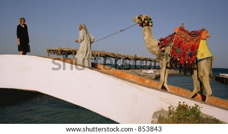 Scan of medium format's original negative shot in Hurgada in January 2005 - stock photo