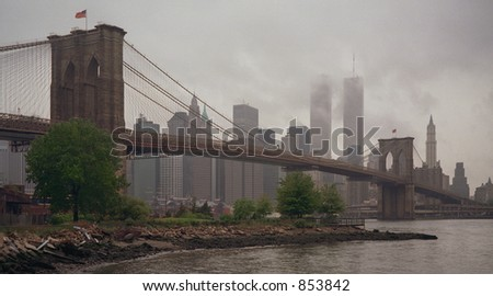 Scan of medium format's original negative shot in New York on a rainy morning of May 1999 - noise at 100% - stock photo