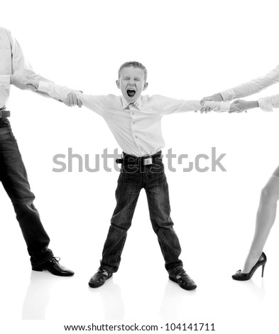 Scandal in the family. Parents share child. Isolated on white background