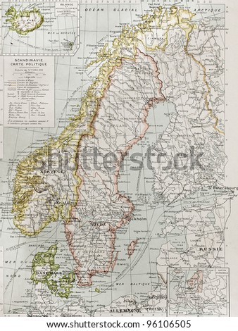 Scandinavia political map with Iceland insert map. By Paul Vidal de Lablache, Atlas Classique, Librerie Colin, Paris, 1894 (first edition) - stock photo