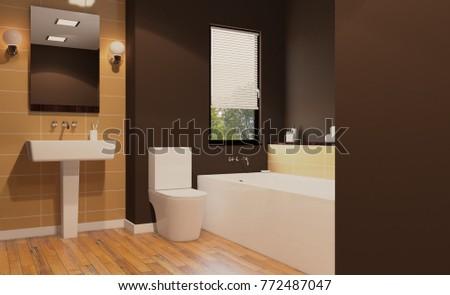 Scandinavian Bathroom Classic Vintage Interior Design Stock ...