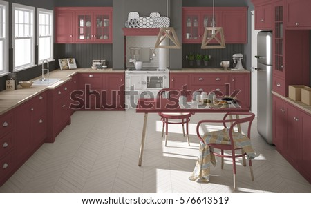 Scandinavian classic kitchen with wooden and red details, minimalistic interior design, 3d illustration