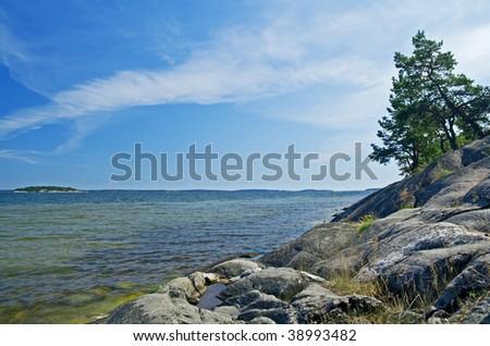 Scandinavian coastline, Baltic Sea in summer. - stock photo