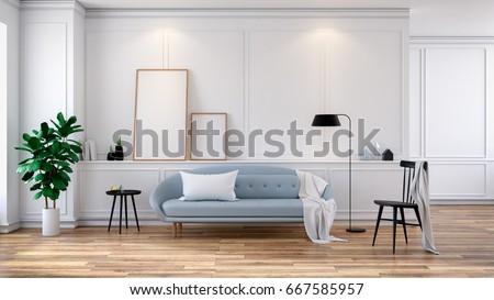 Scandinavian Interior Of Living Room, Light Gray Sofa On White Room,3d  Rendering