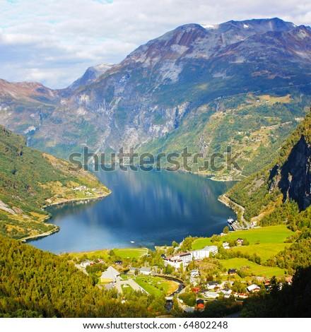 Scandinavian Lake in the beautiful mountains taken in September - stock photo