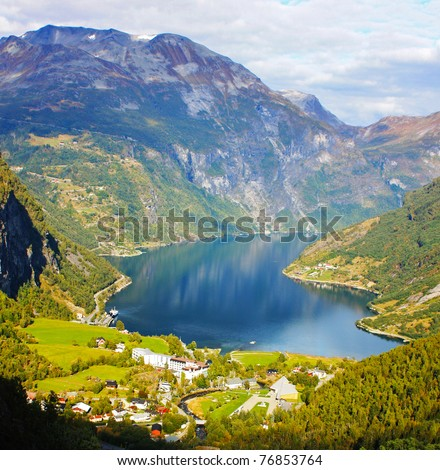 Scandinavian Lake in the beautiful mountains taken in September