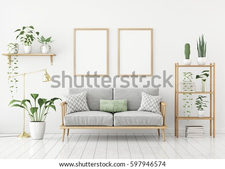 Scandinavian style poster mock two vertical stock for Scandinavian style sofa