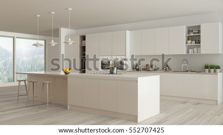 Scandinavian white kitchen with wooden and white details, minimalistic interior design, 3d illustration