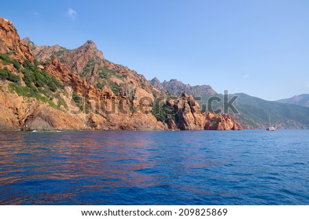 Scandola Nature Reserve, UNESCO World Heritage site, Corsica, France - stock photo