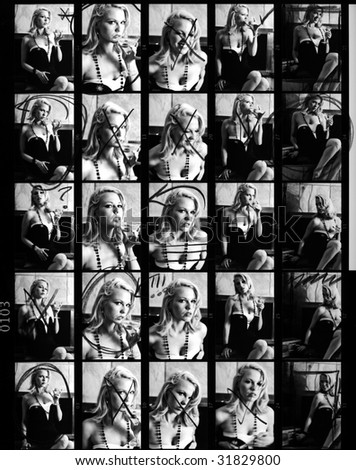 Scanned 35 mm Film Contact Sheet from Retro Fashion Glamour Shoot.  Annotated, Scratchy, Dusty, Soft-Focus; The Real Thing!  Model-Released. - stock photo