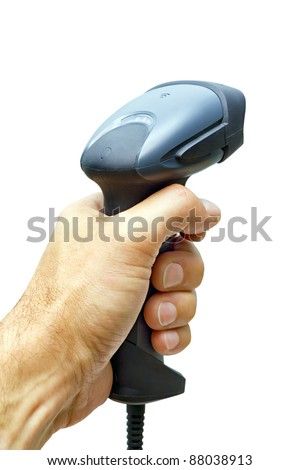 scanner barcode in man's hand isolated on white background - stock photo