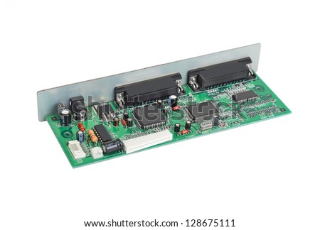 Scanner motherboard board, isolated on white background