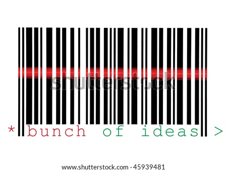 Scanning Bunch of Ideas Barcode Macro Closeup, Isolated On White - stock photo