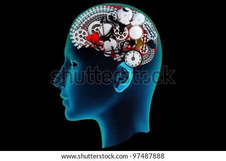 Scanning of a human brain by X-rays - stock photo