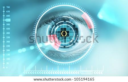 scanning of eye - stock photo