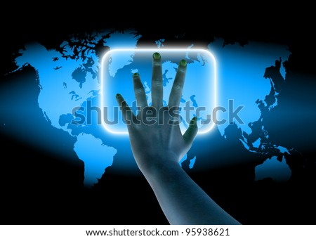 scanning of hand on a touch screen interface - stock photo