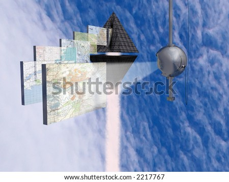 Scanning of topographic map of district. - stock photo