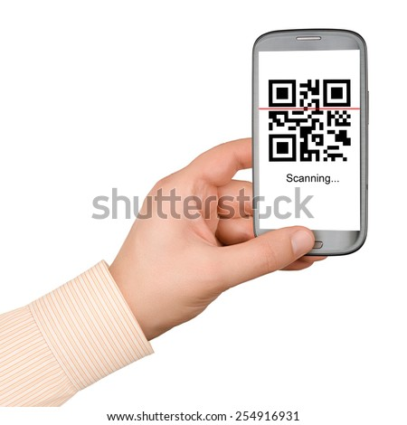 Scanning QR code with mobile smart phone isolated on white background - stock photo