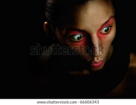 Scare, girl, red - stock photo