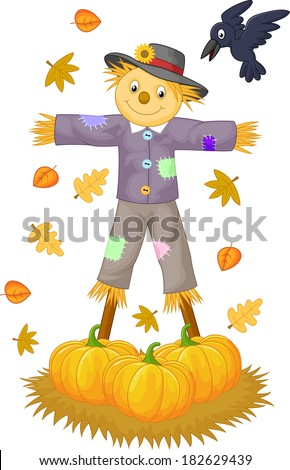 Scarecrow cartoon - stock photo
