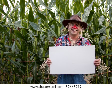 scarecrow holding copy space sign - stock photo