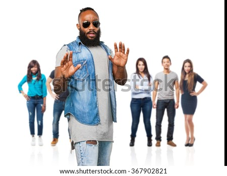 scared black man on white - stock photo