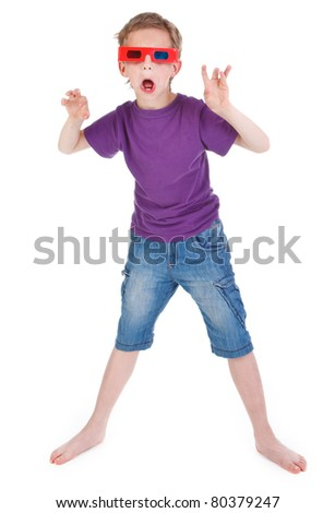 scared boy wearing 3D glasses on white background - stock photo