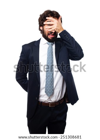 scared businessman - stock photo
