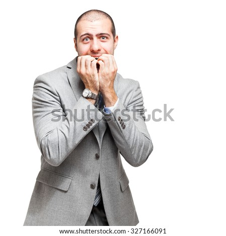 Scared businessman isolated on white - stock photo
