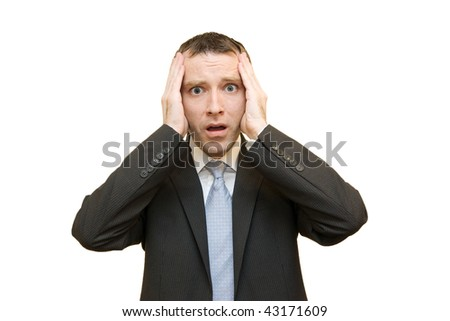 scared businessman on white background